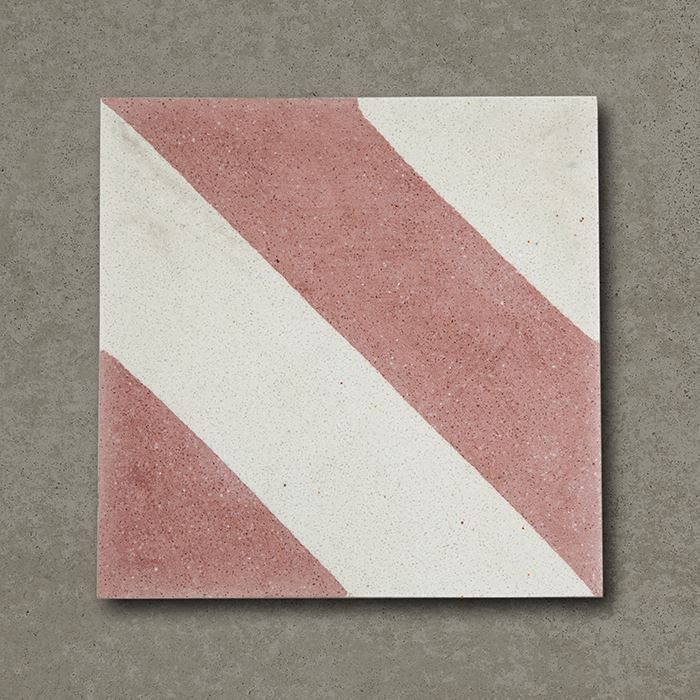 cross stripe pink cement tile